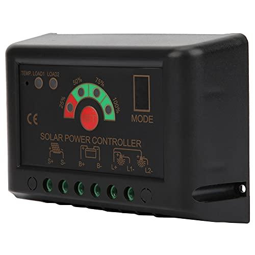 Regulador de batería de panel solar, controlador solar PWM 20A, identificación automática que regula el uso en exteriores en el hogar para el control de energía solar(JN-S 5A)
