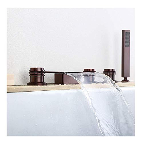 HTZ-M Grifo de bañera en Cascada con Agua fría y Caliente generalizada 5 Orificios 3 manijas Redondas Grifo de bañera de baño Montado en Cubierta Grifos mezcladores de Ducha de baño con Ducha de Mano