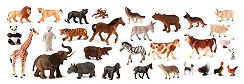 Miniland 25140- Animales granja y salvajes, 30 piezas