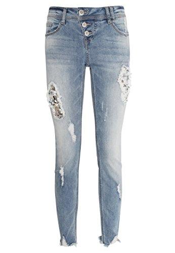 Rock Angel Damen Skinny Fit Jeans Amy mit Pailletten & Destroyed Parts...