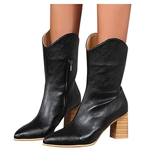Dasongff Botines de mujer con tacón de embudo, botas de caña larga para mujer, tacón de cuña, botas de nieve para mujer, impermeables, clásicas, de vaquero, transpirables, de invierno, Chelsea