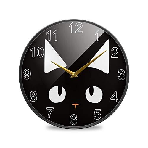 Mr.Lucien, orologio da parete con volto di gatto, in acrilico, rotondo, silenzioso, per casa, ufficio, scuola, 24,5 x 24,5 cm