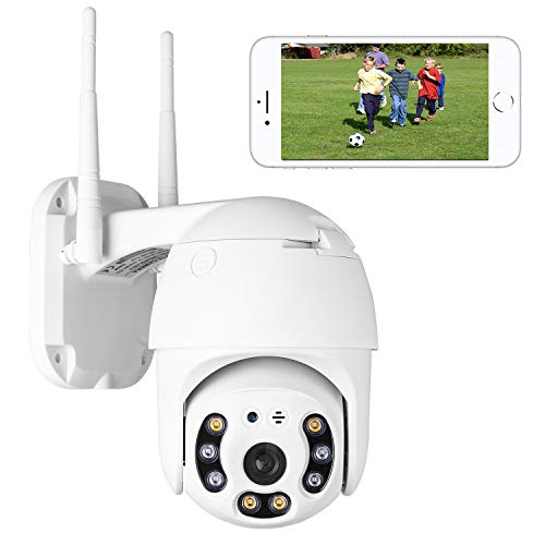 Aottom PTZ Camera Outdoor Dome IP Camera 1080P WiFi Security Camera with Pan Tilt, Color Night Vision, Two-Way Audio, Motion Detection, Waterproof, Free APP for Android/iOS, Support Max 128G SD Card