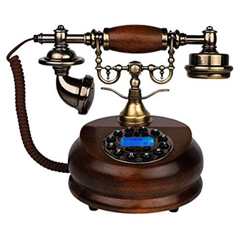 FHISD Teléfono Retro Vintage, teléfono Fijo, teléfono Creativo de Gama Alta, teléfono Vintage con Pantalla giratoria LCD, teléfono de Madera y Metal Adecuado para la Oficina en casa