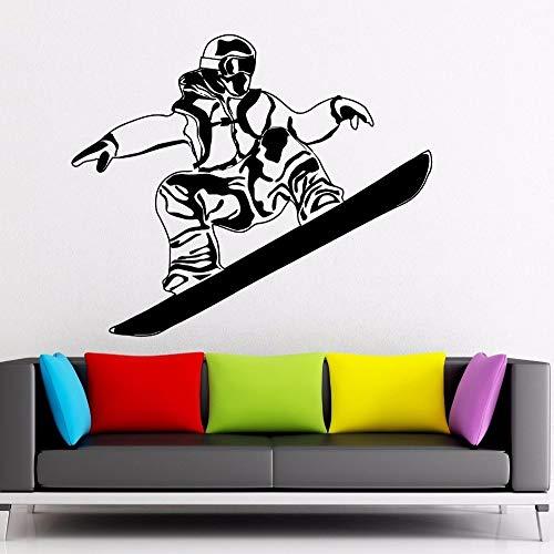 YuanMinglu Vinyl Entfernbare Wandkunst Schlafzimmer Dekoration Wandbild Kunst Aufkleber Snowboard Extremsportler Poster Wintersportler Schwarz 57X70 cm