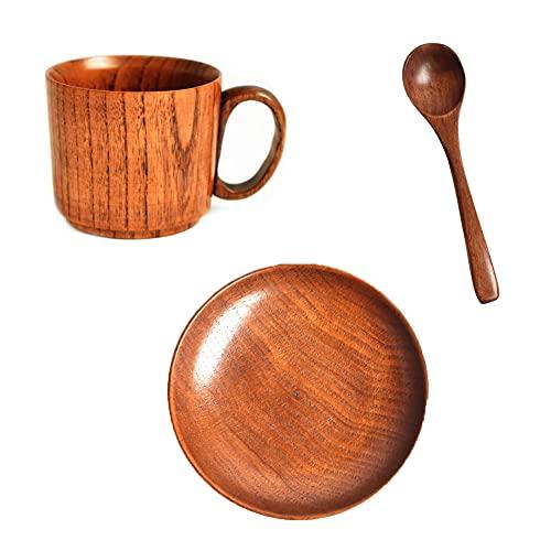 KIKIOK - Taza de café de madera portátil para café, cerveza, leche, zumo