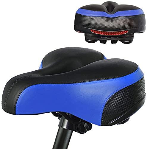 PULEN Sillín Bicicleta Cómodo, Sillín de Bicicleta Ergonómico, Impermeable y transpirable Asiento de Bici de Gel,con Marca Reflectante y Amortiguadores, Asiento de Bicicleta (Azul)