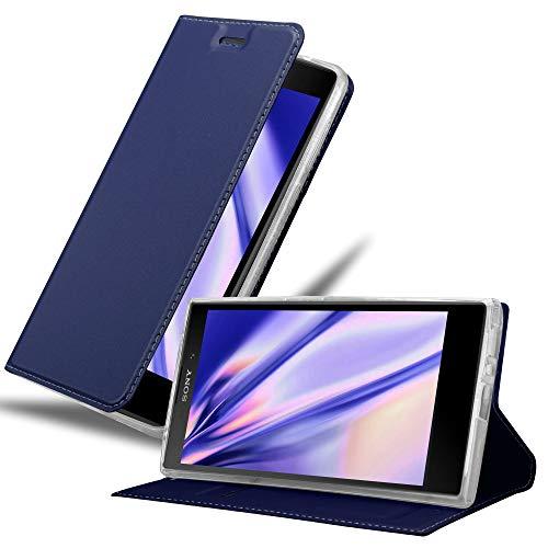 Cadorabo Hülle für Sony Xperia L2 in Classy DUNKEL BLAU - Handyhülle mit Magnetverschluss, Standfunktion und Kartenfach - Case Cover Schutzhülle Etui Tasche Book Klapp Style