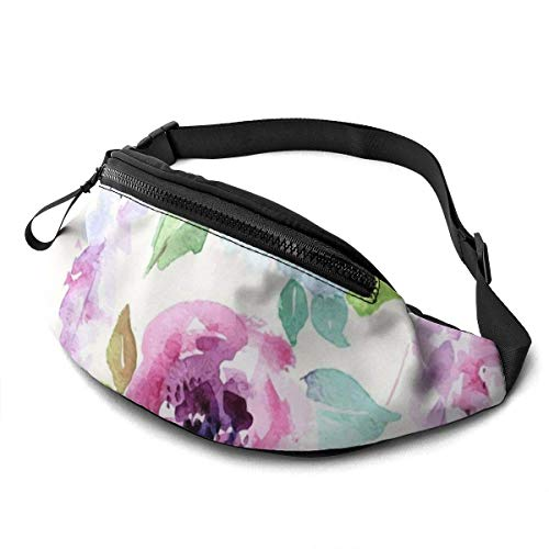 Fantastic Fairy Watercolor Style with Floral Leaves Waist Pack/Fanny Pack/Travel Bag for Men Women Outdoors Sports Marathon Hiking