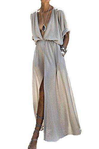 Zamtapary Partykleider für Damen Sommer Tief geschnitten Schlitz Strandkleid Maxi Kleider grau M