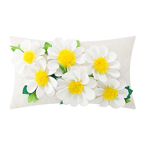 King Rose 3D Flower Throw Pillow Cover Floral Decorative Accent Pillow Case Chamomile Cushion Cover for Sofa Bed Living Room Home Decor 12 X 20 Inches