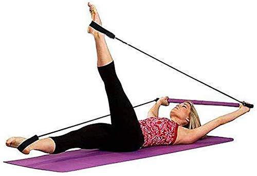 Iwinna Portable Pilates Bar Yoga Exercise Bar Pilates Trainer Fitness Rod with Foot Loop