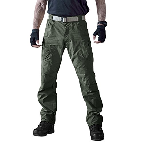 TACVASEN Men's Casual Quick Drying Lightweight Cargo Pants Military Durable Work Trousers Army Green,34
