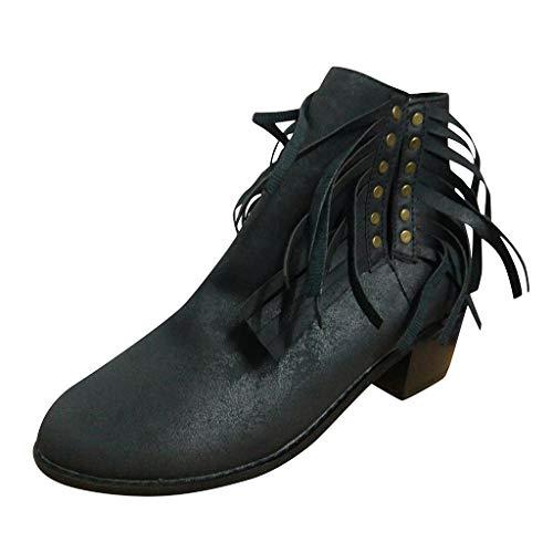Yesmile Damen Stiefeletten Worker Boots Quaste in hochwertiger Lederoptik Elegant rutschfeste Stiefel Schuhe Winter Kurze Stiefel Schlupfstiefel