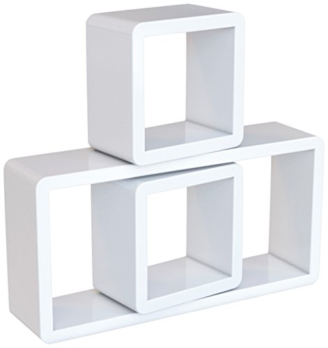 SONGMICS Estante de Pared, Juego de 3 estantes flotantes de Cubo, Estantes Decorativos, Estantes de exposición, Acabado de Alto Brillo, para Dormitorio, salón, Cocina, Máx. Carga 15 kg, Blanco LWS102 🔥
