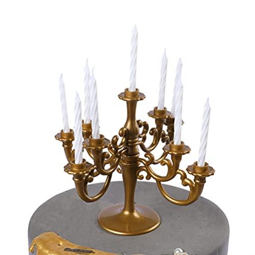Holibanna 2 PCS Candelabri Cake Topper con Candals Plastica Candeliere Alto Supporto di Candela per La Cerimonia Nuziale Cerimonia Compleanni Halloween Cena di Natale Cake Topper