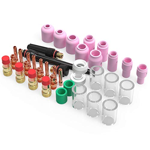 YESWELDER 49PCS TIG Welding Torch Stubby Gas Lens #10 Pyrex Glass Cup Kit For WP-17/18/26