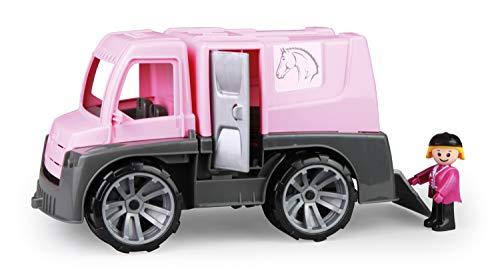 Lena 04458 x TRUXX Pferdetransporter Spielfigur als Reiterin, Spielset Transporter für Pferde und Zubehör, Transportfahrzeug mit Türen zum Öffnen, Spielfahrzeug für Kinder ab 24m+, pink, Silber