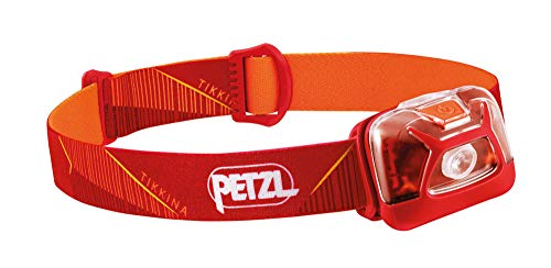 PETZL, TIKKINA Outdoor Headlamp with 250 Lumens for Camping and Hiking, Red