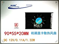 90 * 55 * 20 mm 9 cm cm 55 mm hole is apart from the 12 v 0.11 A with aluminium cooling fan on the video card