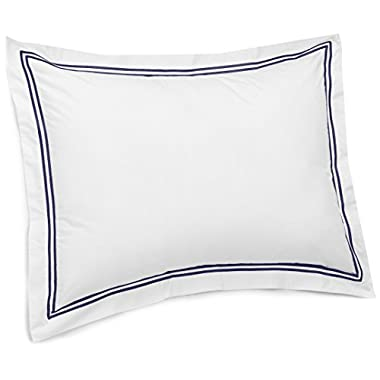 Pinzon 400-Thread-Count Egyptian Cotton Sateen Hotel Stitch Sham - European, Navy