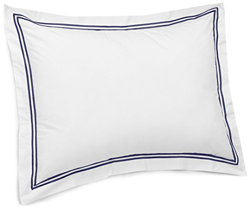 Pinzon 400-Thread-Count Egyptian Cotton Sateen Hotel Stitch Sham - King, Navy Blue