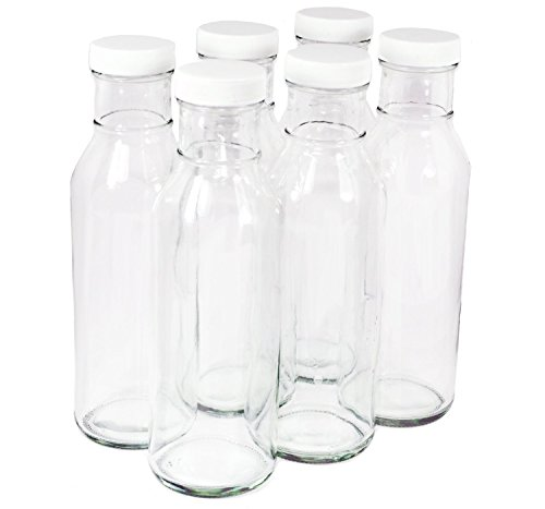 Clear Glass Beverage/Sauce Bottles, 12 Oz - Pack of 6