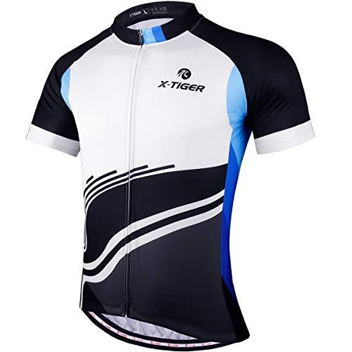X-TIGER Magliette da Ciclismo da Uomo, T-Shirt Corta, Top Abbigliamento Maglie da Ciclismo,Camicia da Mountain Bike/MTB,Traspirante e Assorbente dal Sudore, Asciugatura Rapida (XL, Nero + Bianco)