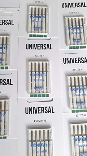 SCHMETZ 25 agujas para máquina de coser, pistón plano, 130 705, estándar universal (70)