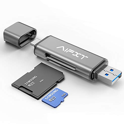 SD Card Reader, AIFXT USB Type C USB 3.0 OTG Memory Card Adapter Portable 2 Slots for TF, SD, Micro SD, SDXC, SDHC, MMC, RS-MMC, Micro SDXC, Micro SDHC, UHS-I for MacBook PC Tablets Smartphones