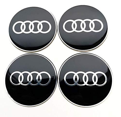 4 Rad mitte kappen aufkleber 65 mm AUDIembleme gewölbt logo selbstklebendes nabendeckel felgenkappen