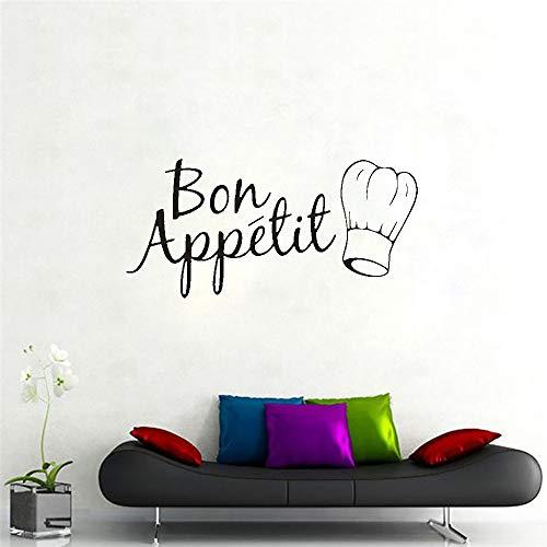 Bon Appetit French Quotes Logo Sign Western Food Chef Hat Etiqueta de la pared Vinilo Art Decal Salón Comedor Cocina Restaurante Decoración para el hogar Mural
