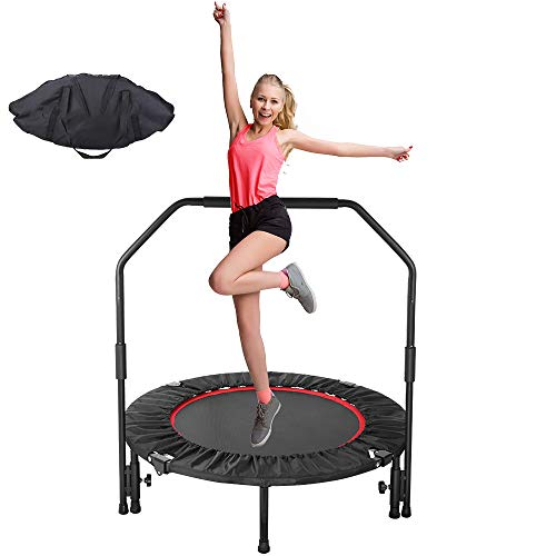GARTIO 40' Exercise Trampoline, Portable & Foldable Mini Rebounder with Adjustable Handrail and Safety Pad, Indoor Outdoor Fun Fitness Training Workouts for Kids Adults, Max Load 330lbs