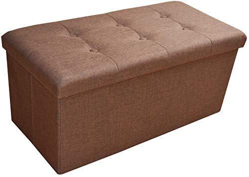 Style home Faltbare Sitzbank Sitzhocker Sitzwürfel Aufbewahrungsbox mit Stauraum, Fußbank Hocker, belastbar bis 300 kg, 76 x 38 x 38 cm, Leinen (Dunkelbraun)