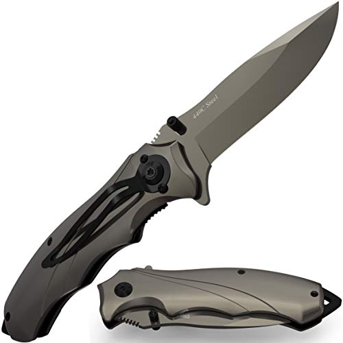 Pocket Knife for Men Best Spring Assisted Knife - Folding Knife with Glass Breaker and Pocket Clip - Tactical Knofe - Camping Hunting Hiking Fishing EDC Survival Boy Scout Knife - Gifts for Men 6495