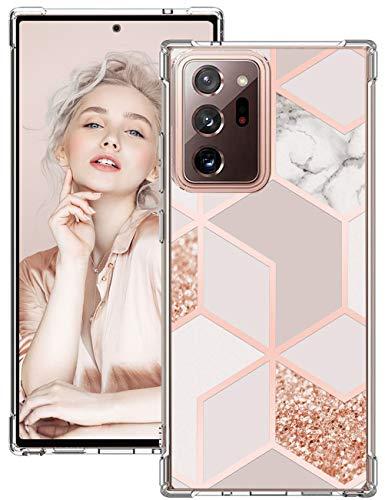 Croazhi - Carcasa para Samsung Galaxy Note 20 Ultra 5G (silicona transparente, 360 esquinas reforzadas, antigolpes, antiarañazos, mármol rosa, protección para Galaxy Note 20 Ultra 5G