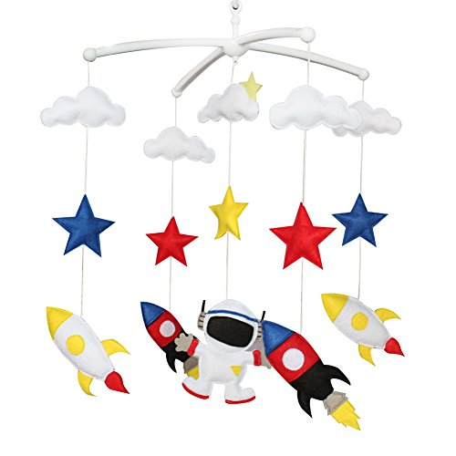 Pigeon Fleet Mobile Rouge Mobile Musical de Berceau de décoration de pépinière de bébé Rouge Bleu pour des garçons, fusée