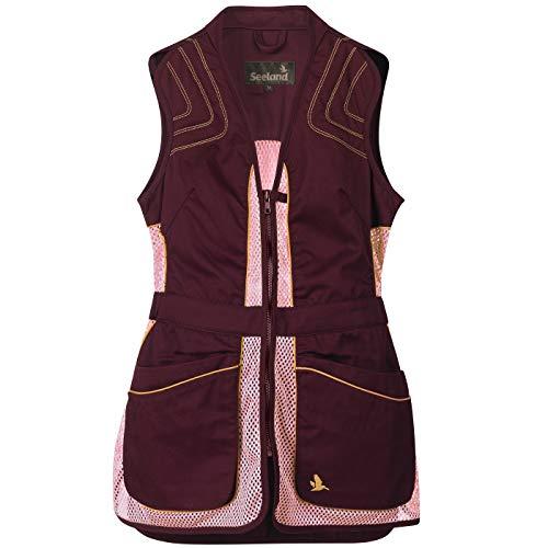 Seeland Chaleco de tiro ligero con grandes bolsillos de cartucho, para mujer Skeet II y cremallera YKK, chaleco de esquí con hombros reforzados y bolsillo interior para hombreras. Chocolate amargo. L
