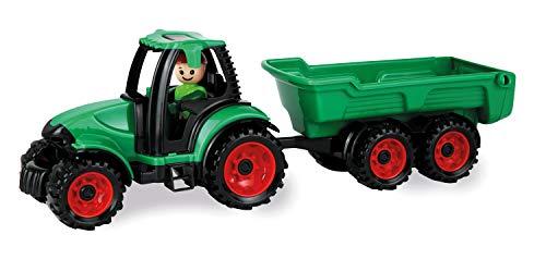 Lena 01625 - Truckies Traktor mit Anhänger, stabiles Traktorset ca. 38 cm, Spielfahrzeug Set mit Trecker und Hänger für Kinder ab 2 Jahre, robustes Spielset für Sandkasten, Strand und Kinderzimmer