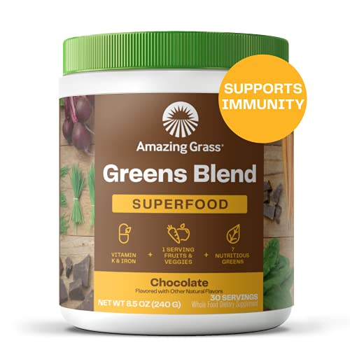 Amazing Grass Greens Blend Superfood: Super Greens Powder with Spirulina, Chlorella, Beet Root Powder, Digestive Enzymes & Probiotics, Chocolate, 30 Servings (Packaging May Vary)