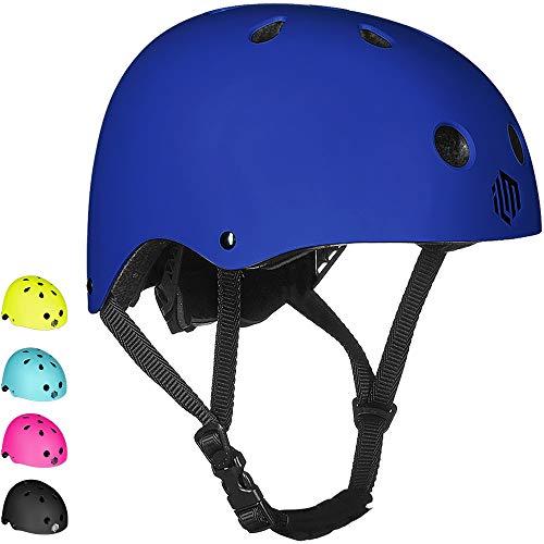 ILM Adults Skateboard Helmet Impact Resistance Ventilation for Skateboarding Scooter Outdoor Sports(Blue,L XL)