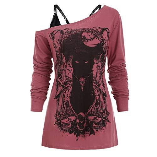 Damen Gothic Shirt Sexy von der Schulter Top Shirt Cat Drucken Mode Oberteile Elegant...