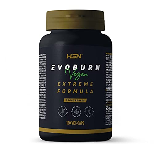 Evoburn HSN | Suplemento con Estimulantes para Mujeres y Hombres | Cafeína, Té Verde, Guaraná, Forskohlii | Alta Eficacia | Vegano, No-GMO, Sin Gluten, Sin Lactosa | 120 Cápsulas Vegetales