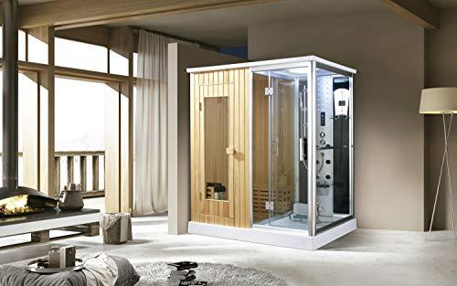 Trade-Line-Partner - Doccia a Vapore con Funzione Sauna, 170 x 120 cm
