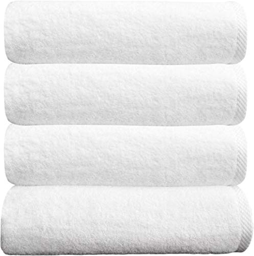 Classic Turkish Cotton Bath Towel Set - Thick and Soft Terry Cloth Hotel and Spa Quality Bath Towels Made with 100% Turkish Cotton (White, 27x54)