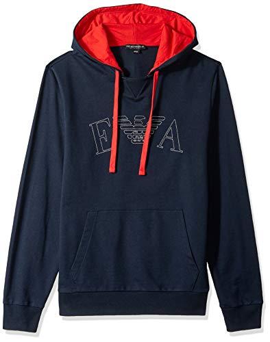 Emporio Armani Herren Iconic Terry Sweater Kapuzenpulli, Marineblau, Groß