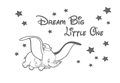 pegatina de pared pegatina de pared frases Dumbo Disney Dream Big Little One Nursery Baby Decals para sala de estar para dormitorio para guardería Habitación para niños
