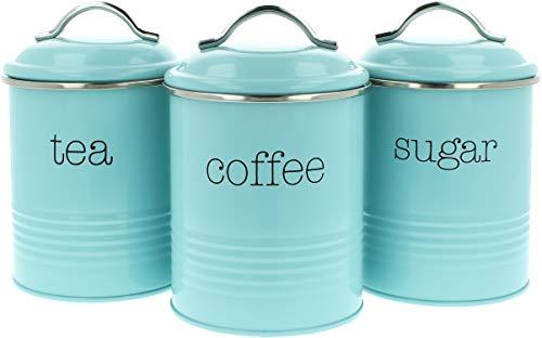 COM-FOUR® 3x voorraadpotten in vintage design, ronde metalen koffiedoos met aroma sluiting, nostalgische koffie, suiker en theedoos in een set (03 stuks - 1000ml lichtblauw)