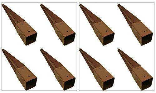 garden mile 8x HEAVY DUTY FENCE POST HOLDER 750MM X 75MM SPIKE SUPPORT RUST RESISTANT METAL STAKES 3' (8)