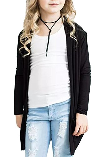 KunLunMen Girls Cardigan Sweaters Kids Fall Casual Knitted Long Sleeve Outerwear 11-12 Years Black